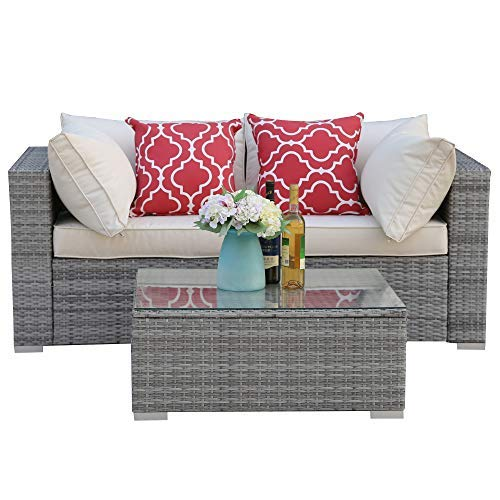 Do4U 3-12 Pieces Set Outdoor Patio Furniture Sectional Conversation Set,All-Weather Wicker Rattan Sofa Beige Seat & Back Cushions (3015-Grey-3 Pieces)