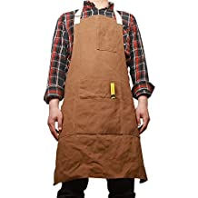 Unisex Waxed Canvas Aprons Bib with Six Pockets Waterproof Thick Shop Tool Apron WQ05