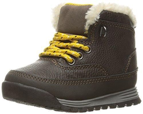 carter's Boys' SPIKE2 Boot, Dark Brown/Yellow, 7 M US Toddler