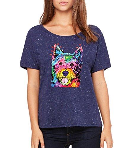 (Cute Westie I Love Westie Women's SLOUCHY FIT Westie Mom Westie Dad Shirts Navy Speckled 523)