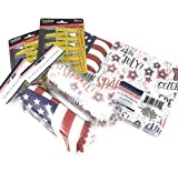 Patriotic Party Picnic BBQ Paper HOT Dog Holder Plates (32) Corn ON The COB Holders (16) and Patriotic Stars and Stripes Napkins (40) Bundle
