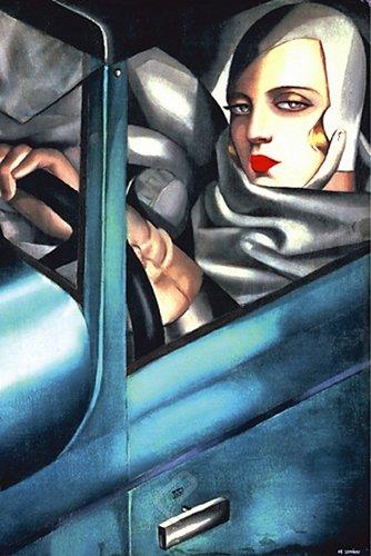 Self Portrait by Tamara de Lempicka. Blue Vintage Car. Fine