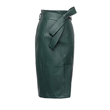 92ff626e9 KoHuiJoo Plus Size Leather Skirt for Women, Black Green Autumn Winter Sexy High  Waist Office