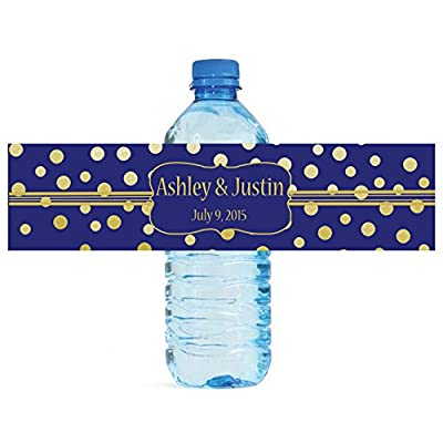 DesignThatSign 100 Gold Confetti On Navy Blue Wedding Anniversary Engagement Party Water Bottle Labels Bridal Shower: Toys & Games