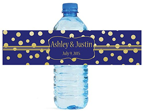 100 Gold Confetti On Navy Blue Wedding Anniversary Engagement Party Water Bottle labels Bridal Shower