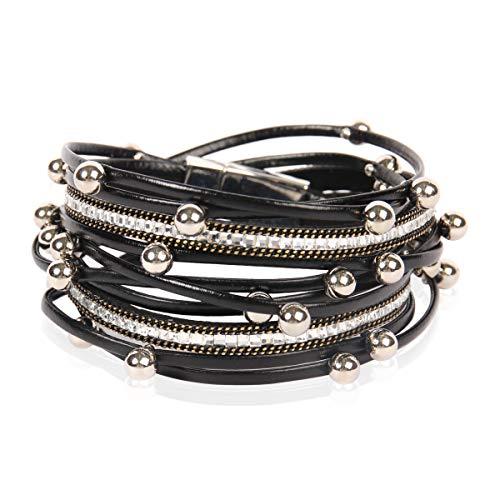 RIAH FASHION Bohemian Faux Suede Leather Wrap Multi Layer Bracelet - Boho Wrist Adjustable Cuff Bangle Crystal Rhinestone/Metallic Bead/Natural Stone Embellishment (Metallic Ball Mix - Black)