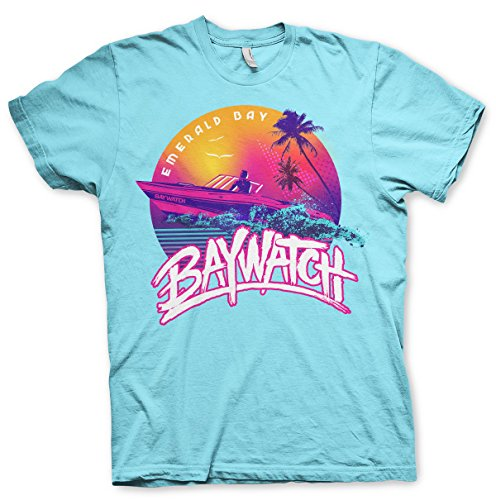 Baywatch Officially Licensed Emerald Bay Mens T-Shirt (SkyBlue), Large]()