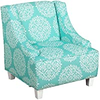 Kinfine Youth Upholstered Swoop Arm Chair, Teal and Cream Medallion