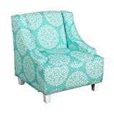 HomePop K6465-F2095 Youth Upholstered Swoop Arm Accent Chair, 21.5'' x 22'' x 23'', Teal and Cream Medallion