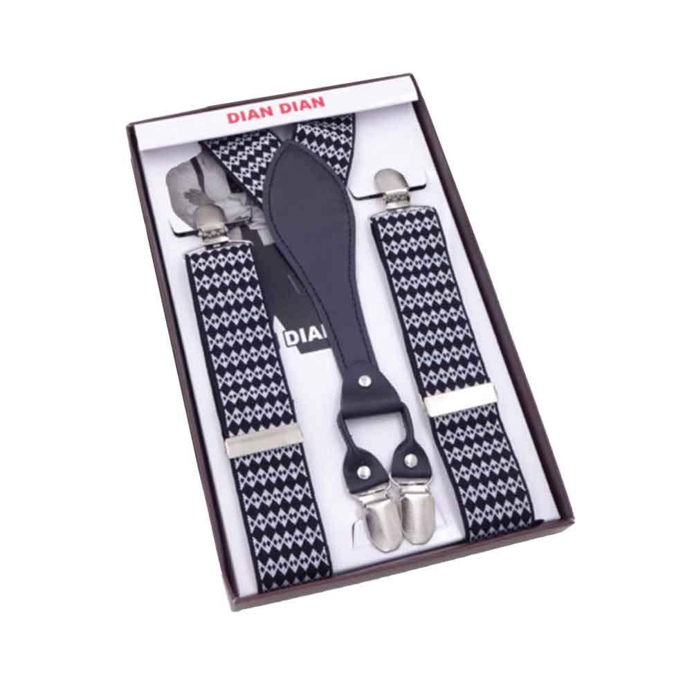 Men 4 Clips-on Braces Vintage Mens Suspender For Trousers Husband Male Suspensorio