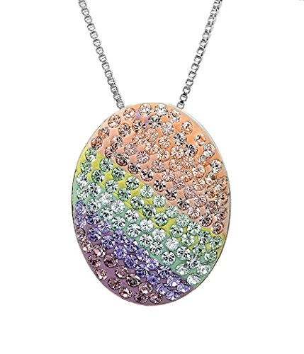 Sterling Silver Multi Colored Disc Pendant-Necklace with Swarovski Crystals