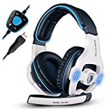 SADES 903 Surround Sound Pro USB PC Stereo Noise-Canceling Gaming Headset with High Sensitivity Mic Volume-Control Blue LED lighting (White)