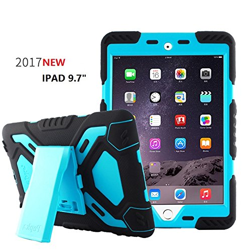 (New iPad 9.7 inch 2017/2018 iPad 9.7 Case,Bpowe Heavy Duty Cover Case Silicone Plastic Dual Layer Shock Proof Drop Proof Dust Proof Kids Proof With Kickstand for Apple iPad 9.7 2017/2018 (black/blue))
