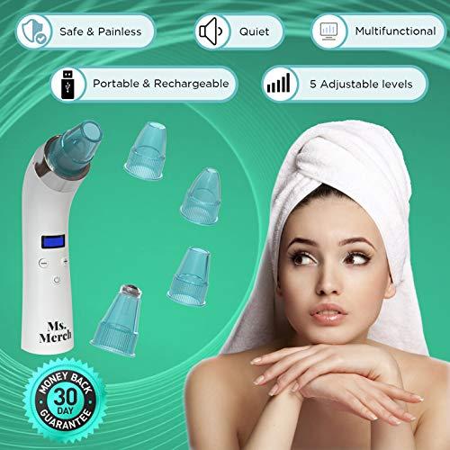 Blackhead Remover Vacuum, Electric Skin Pore Cleaner Blackhead Vacuum Suction Removal Rechargeable [BONUS FACE TOWEL]