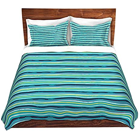 Duvet Cover Brushed Twill Twin Queen King SETs DiaNoche Designs Metka Hiti Woodland Stripe