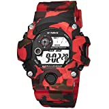 Hattfart Men's Military Camouflage Analog Digital Watch Display Sports Watches Multifunctional Large Wrist Watches for Men (Red)