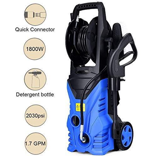 Goplus Electric High Pressure Washer 2030PSI 1.6GPM 1800W Power Pressure Washer Machine w/High Pressure Hose and Wash Brush (Blue)