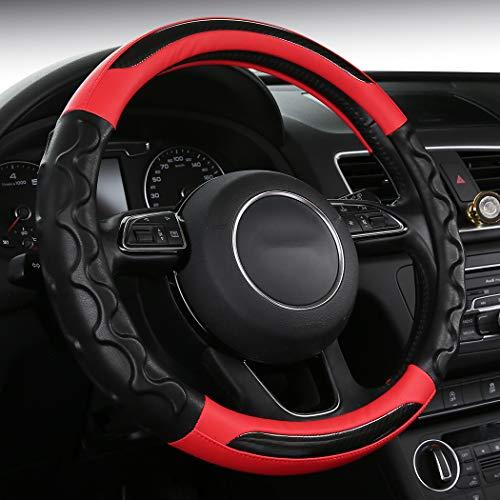 (SHAKAR Carbon Fiber Steering Wheel Covers-Comfort Grip Steering Covers,Red,Universal 15 inch (wavered))