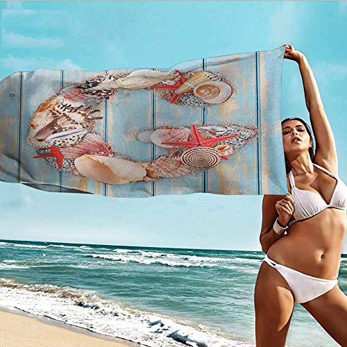 Outdoor Seashell Wall Mount - Antonia Reed Custom Personalized Print Towel Letter G,Nautical Theme with Marine Animals Invertebrates Seashell Starfish,Pale Blue Ivory Dark Coral,for Home Outdoor Travel Use 20