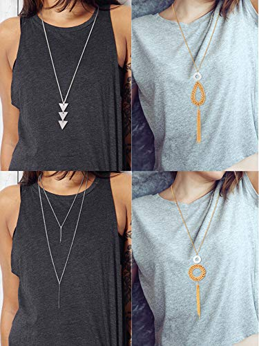 - 4 Pieces Long Pendant Necklace Set, Layer Simple Bar Necklace Tassel Y Strands for Women (Style 4)