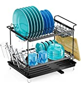 Dish Drying Rack with Drainboard for Kitchen Counter Organization - Veckle 2 Tier Rust-Resistant ...