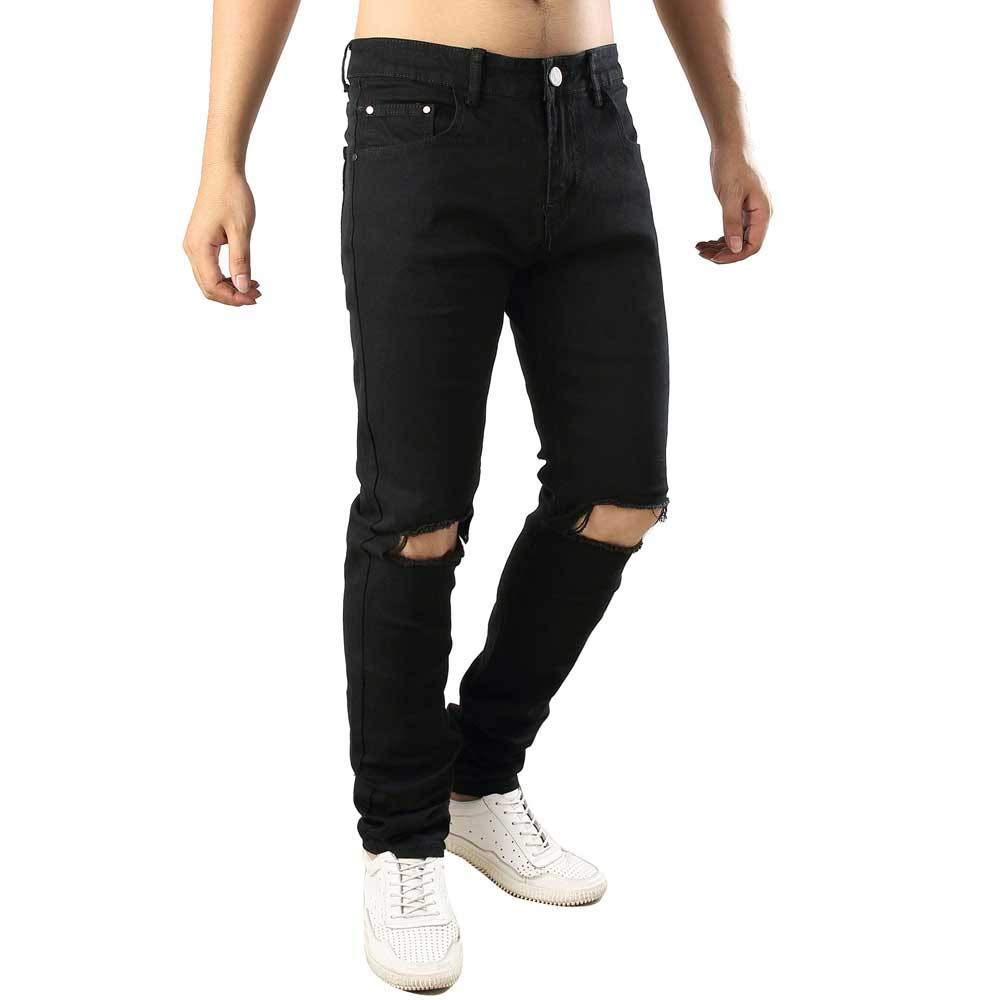 Topgee Mens Black Straight Ripped Hole Jeans Zipper Mid Waist Trousers