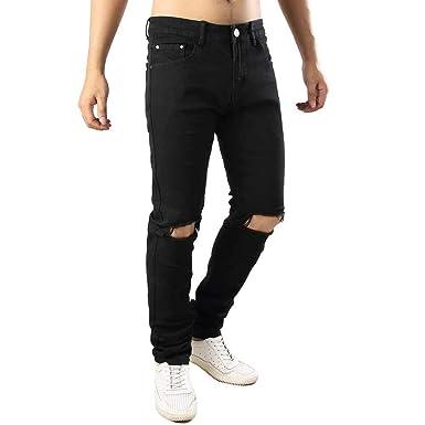 Celucke Herren Jeans Hose,Männer Jeanshosen Basic Streetwear Dicke Nähte  Destroyed Denim Röhrenjeans Regular Fit 3581015a33