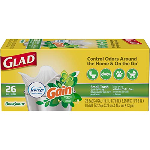 Glad Small Trash Bags - OdorShield 4 Gallon White Trash Bag, Gain Original with Febreze Freshness - 26 Count Each (Pack of 6) ()