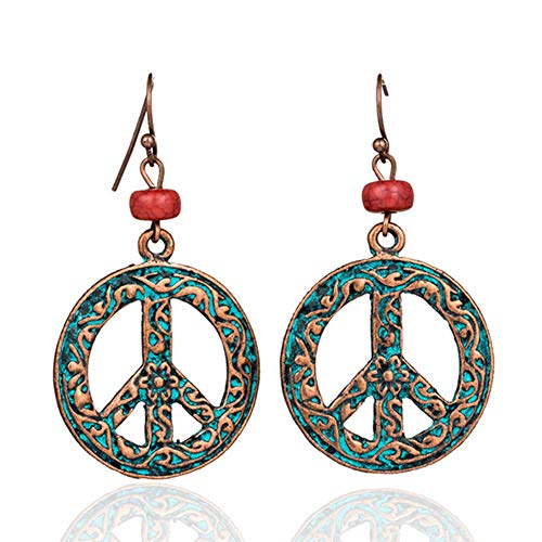- MIXIA Antique Vintage Bronze Round Peace Love Sign Symbol Hook Earring Carving Filigree Flower Drop Earring Women Jewelry (Retro Red)