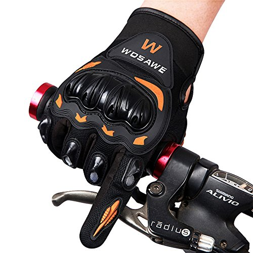 WOSAWE motorcycle gloves breathable non-slip bicycle 2017tactical gloves bike throwing long finger gloves BST-015-O (Black and orange, XL)