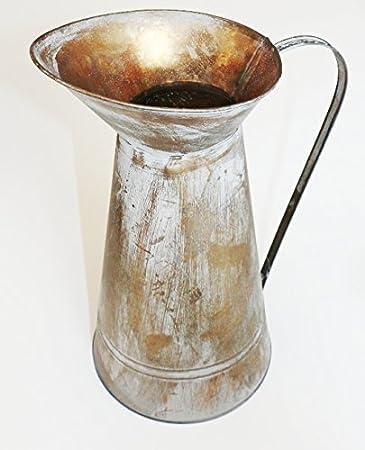 XL Wasserkrug Bronze farben 35cm hoch Zinkkanne Metallkanne Deko ...
