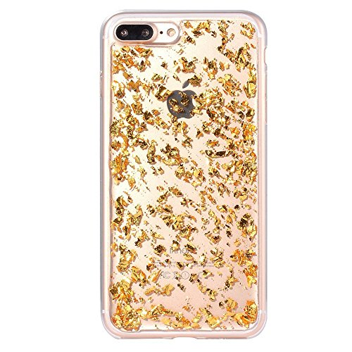 iphone 7plus case and iphone 8 plus case Embedded Flakes Clear Thin Luxury Glitter Leaf Bling Slim Fit Durable Protective (gold)