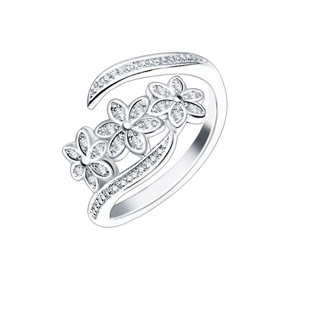 Yodio Flower Shaped Silver Mental Width 12.5mm Rings