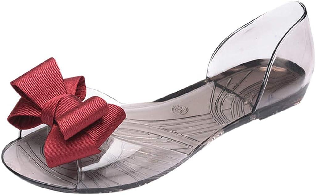 Frauen-Sommer-offene Elegante Transparent Fadenblume Bogen Zehen-Gelee-Beleg auf Schuhen gro/ßen Blumenfischmund-Flach Strand-Sandalen Ballerinas Bootsschuhe Patifia Sommerschuhe