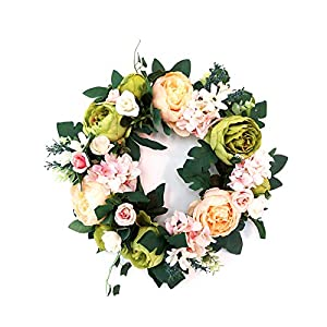keebgyy Artificial Wreath, Faux Peony Flower Spring Front Door Welcome Gift, Window Pendant Hanging Ornament Decoration Props 3