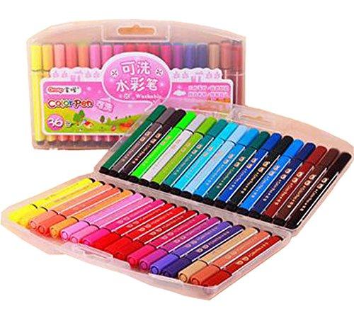 PANDA SUPERSTORE Children Multicolor Washable Crayons/Non-Toxic Color Pens, 36ct (Random Color)