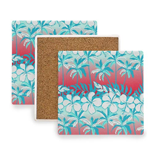 Tropical Palm Tree Leaf Abstract Coasters, Protect Your Furniture from Stains,Coffee, Wood Coasters Funny Housewarming Gift,Square Cup Mat Pad for Home, Kitchen or Bar 1 Piece
