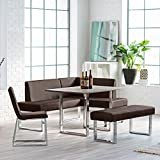 Kitchen Nook Dining Set with Bench Chair Table with Chrome Legs Seats up to 6 people Fresh Modern Breakfast Loft Area plus FREE GIFTS Review