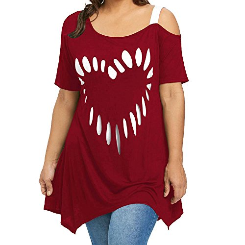 iDWZA Women Lady Plus Size Love Heart Shape Print Shirt Casual Loose T-Shirt Top(2XL,Wine Red)