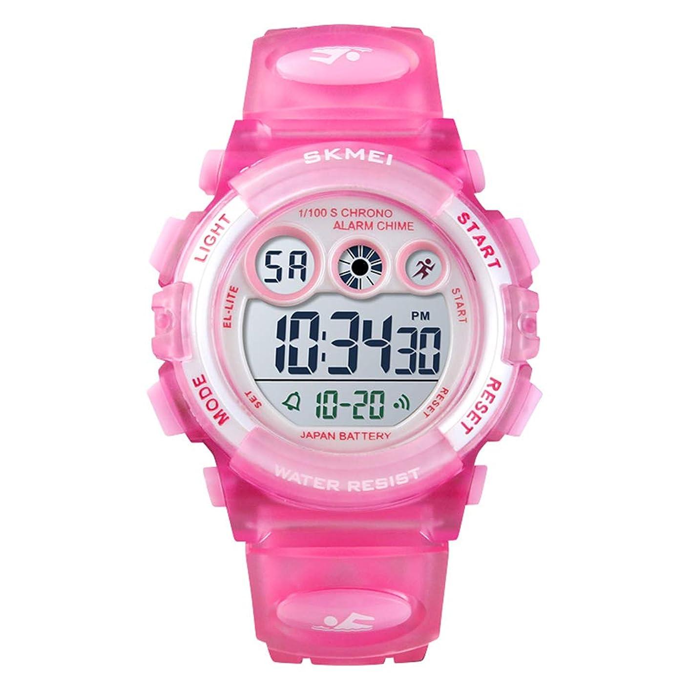 影計算する司書SKMEI 腕時計 男の子 女の子 子供腕時計 防水 キッズ腕時計 スポーツ用 デジタル アラーム ストップウオッチ 七彩LED日付 曜日 可愛い プレセント ギフト 全6色
