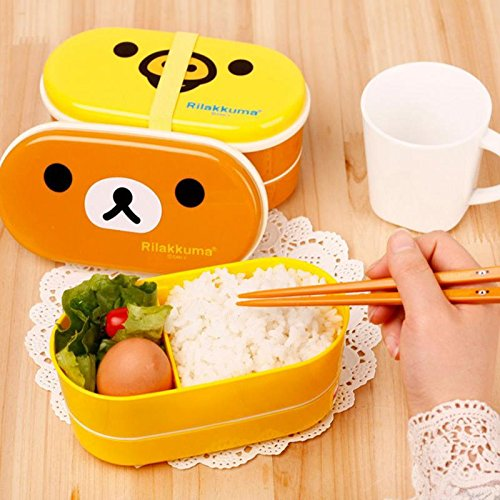 New Japanese Bento Lunch Box - Copter 2 Layer Cartoon Rilakkuma Lunchbox Bento Lunch Container Food Container Japanese Style Plastic Lunch Storage box (yellow bird)