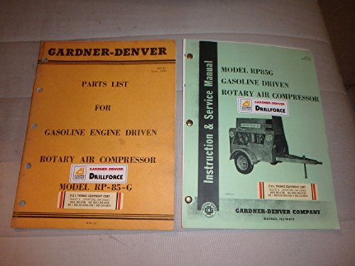Gardner-Denver model RP85G rotary air compressor- parts & service manuals