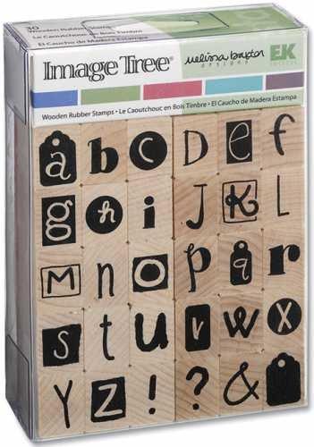 Image Tree Wood Handle Rubber Stamp Set, Melissa Baxter: Collage Alphabet - Ek Image Tree Rubber Stamp