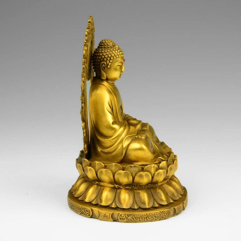 Buddha Statue Meditating Brass Ornament Crafts for Home Decor and Buddhism Art Decoration Yhch-Golden 5.9inch