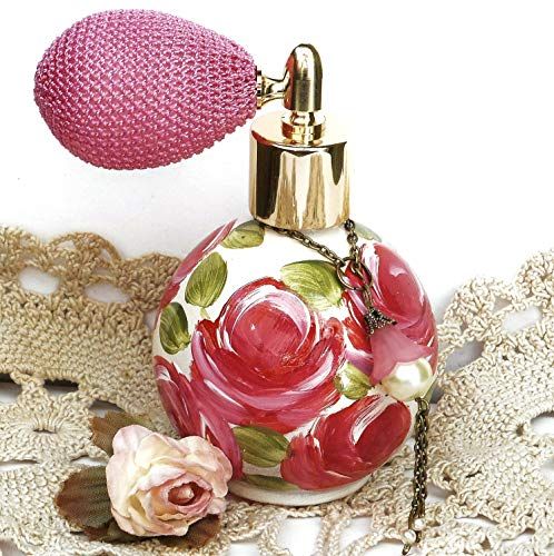 (Hand Painted Pink Roses Small Glass Perfume Spray Atomizer Bottle Romantic Victorian Shabby Chic Decor)