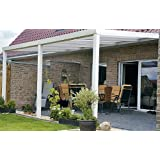 ALU Terrassenüberdachung 600x400cm weiß Montagefertig Überdachung Vordach Überdachung Aluminium Terrasse