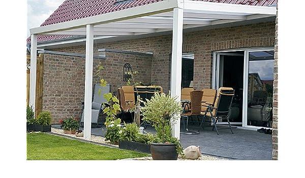 Dosel de aluminio para terraza, 600 x 400 cm, Blanco, listo para ...