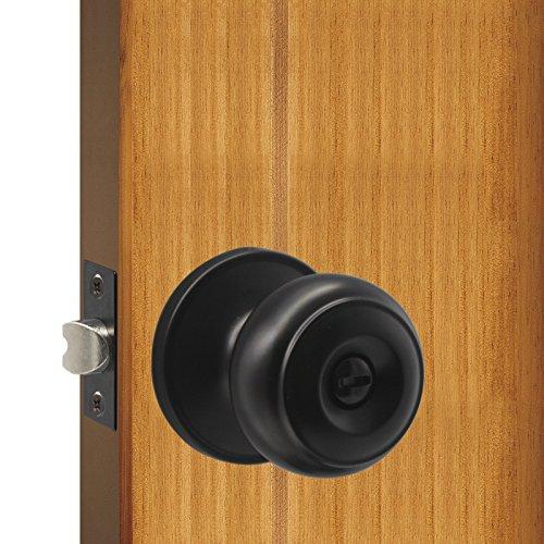 Lockset Privacy Ball (Gobrico Black Interior Door Lockset Privacy Door Knobs for Bedroom Bathroom,no Key, Flat Ball Style,1Pack)