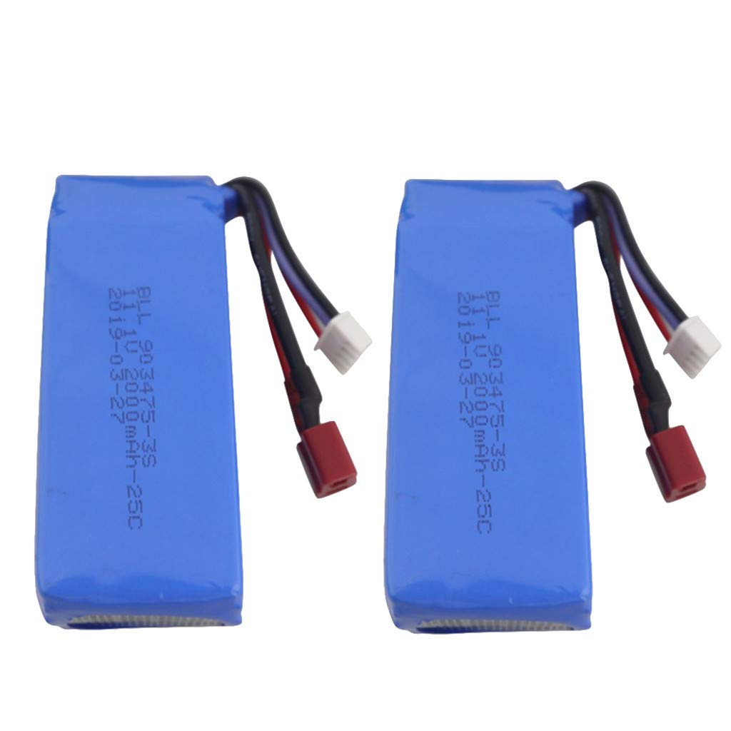 Dowager 2PCs Professional 11.1V 2000mAh Lithium Battery for Compatible with Feilun FT012 Remote Control Speedboat by Dowager_Battery