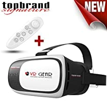 New VR Gear 2 3D Virtual Reality Headset Glasses With Bluetooth Controller, 3D Movies and Games on Smartphones 4~6 inch Android Samsung S4~S7 inc Edge+ Iphone 6 ~6S+